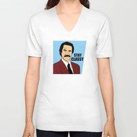 will ferrell V-neck T-shirts featuring Stay Classy - Ron Burgundy by Buby87