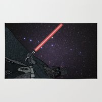 darth vader Area & Throw Rugs featuring Darth Vader  by Rebecca Bear