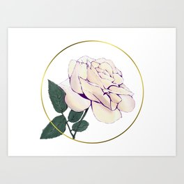 Rose and Metallic Gold Circle Art Print