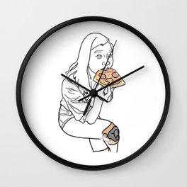 PIZZA LOVER SKATER GURL Wall Clock