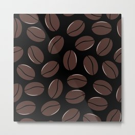 Modern seamless pattern with coffee beans Metal Print