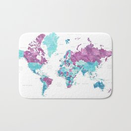 """Purple and turquoise watercolor world map with cities, """"Blair"""" Bath Mat"""