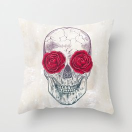 Skull & Roses Throw Pillow