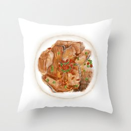 Watercolor Illustration of Chinese Cuisine - Xiangxi Sour Fish | 湘西醋鱼 Throw Pillow