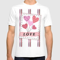 Bright hearts.Love , Valentine's day Mens Fitted Tee MEDIUM White