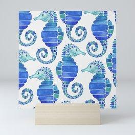 Seahorse - Blue  Mini Art Print