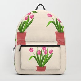 pink tulips in the pot Backpack