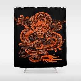 Epic Dragon Orange Shower Curtain