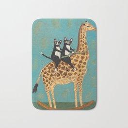 Cats on a Rocking Giraffe Bath Mat