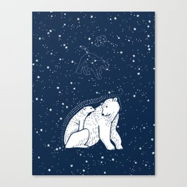 Polar Bear and Constellation Arctic Night Sky Stars Canvas Print