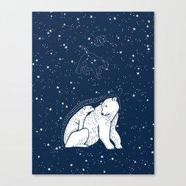 Polar Bear and Constellation Arctic Night Sky Stars Canvas Print