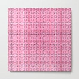 Pink and Grey 'Feminist Killjoy' Tartan Text Pattern Metal Print