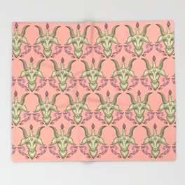 Pink Baphomet Damask Throw Blanket
