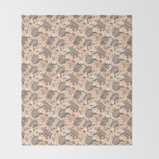 Opossum and Roses Throw Blanket