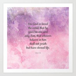 John 3:16, For God So Loved the World Scripture Art Print