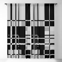Black and Gray Modern Tartan Plaid 1 Blackout Curtain