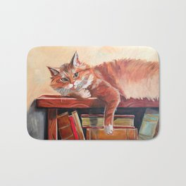 Red cat on a bookshelf Bath Mat