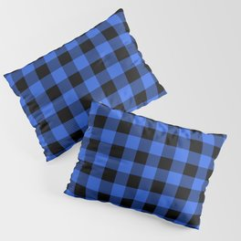 Royal Blue and Black Lumberjack Buffalo Plaid Fabric Pillow Sham