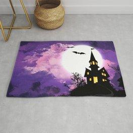 Creepy Halloween Haunted Castle With Bats At Full Moon Ultra HD Rug