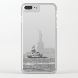 Tug Boat & Statue of Liberty in Black & White Clear iPhone Case