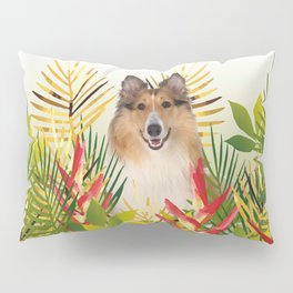 Collie Dog sitting in Garden Pillow Sham
