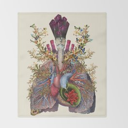 adore anatomical heart lungs collage by bedelgeuse Throw Blanket