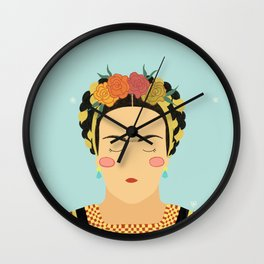 Frida Kahlo by juanitur Wall Clock