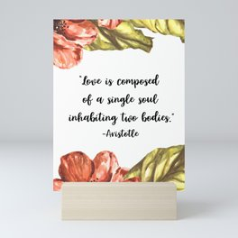 Watercolor Poppies and Leaves with Love Quote Mini Art Print