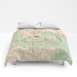 Vintage Map of Portland ME (1906) Comforters