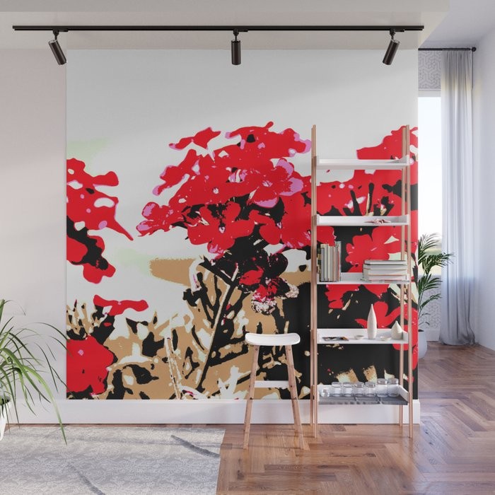 Red Flowers Garden Wall Mural