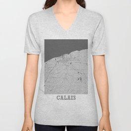 Calais Pencil City Map Unisex V-Neck