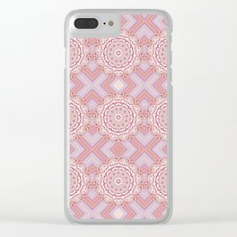 Pink Psychedelic Glued Mandalas 3 Clear iPhone Case