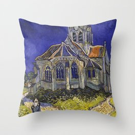 The Church at Auvers by Vincent van Gogh Throw Pillow