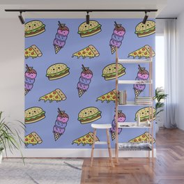 Fast Food Cuties (Blue) Wall Mural