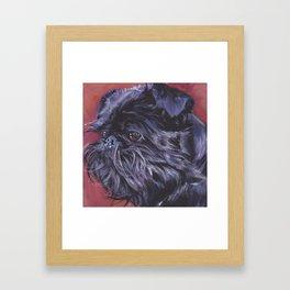 Brussels Griffon belge dog art portrait from an original painting by L.A.Shepard Framed Art Print