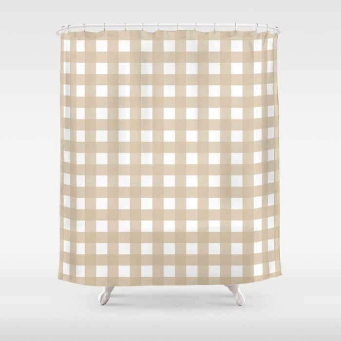 Farmhouse Gingham in Burlap Shower Curtain by bungalowongoldenhill ...