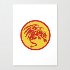 Dragon Gargoyle Crouching Circle Retro Canvas Print