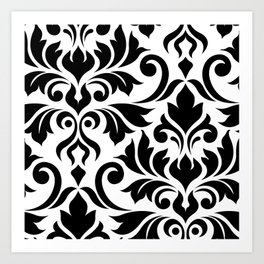 Flourish Damask Art I Black on White Art Print
