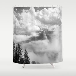 Half Dome in the Clouds, Yosemite National Park, Yosemite Photography, Black and White Photography Shower Curtain
