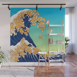 Shiba Inu in Great Wave Wall Mural