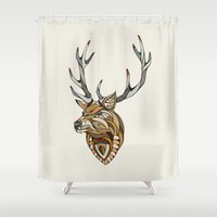 poker Shower Curtains featuring Deer // Animal Poker by Andreas Preis