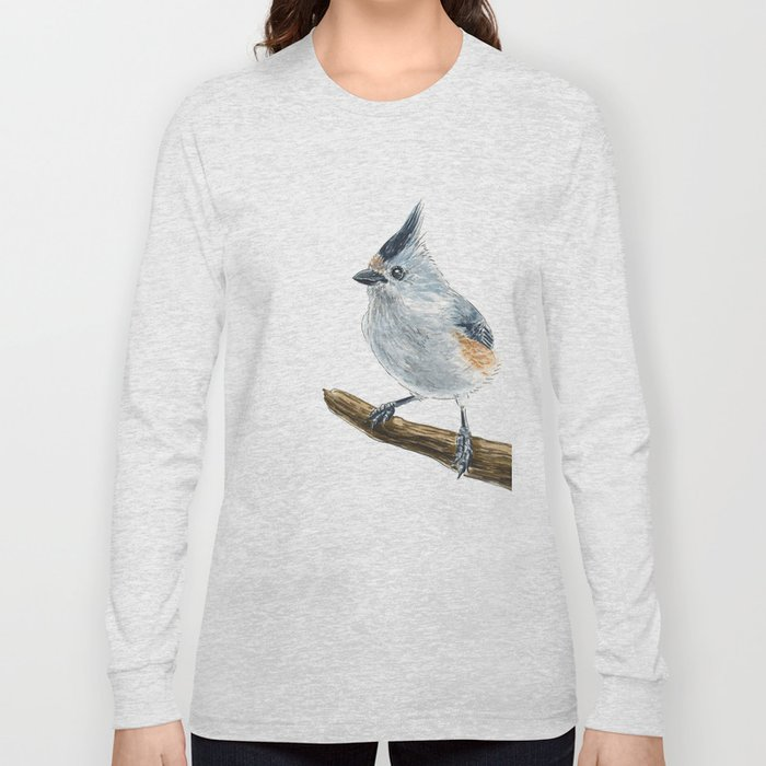 Titmouse bird watercolor Long Sleeve T-shirt