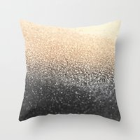 black and gold Throw Pillows featuring GOLD BLACK by Monika Strigel