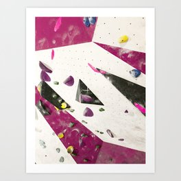 Maroon climbing wall boulders bouldering gym abstract geometric print Art Print