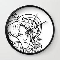 oscar wilde Wall Clocks featuring Oscar Wilde by LiseRichardson