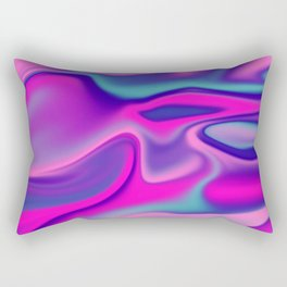 Liquid Bold Vibrant Colorful Abstract Paint in Blue, Pink and Purple Rectangular Pillow