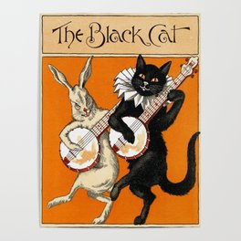 The Black Cat & White Rabbit Poster
