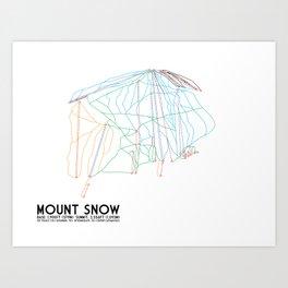 Mount Snow, VT - Minimalist Trail Art Art Print