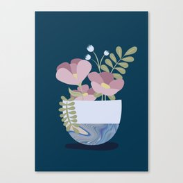 Flowers in Marbleised Vase 1# Canvas Print