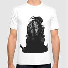 leonardo black and white White MEDIUM Mens Fitted Tee